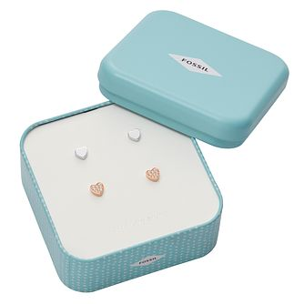 Fossil Ladies' Two Colour Silver Earrings Gift Set - Product number 4238095