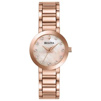 Bulova Modern Ladies' Rose Gold Colour Steel Bracelet Watch - Product number 4238842