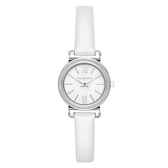 Michael Kors Sofie Ladies' Stone Set White Strap Watch - Product number 4239342