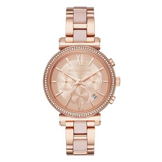 Michael Kors Sofie Ladies' Rose Gold Tone Pink Watch - Product number 4239385