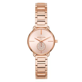 Michael Kors Portia Ladies' Rose Gold Tone Bracelet Watch - Product number 4239636
