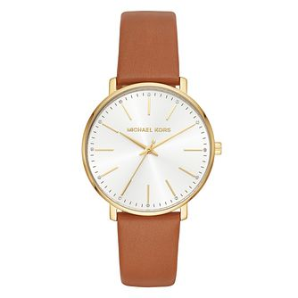 Michael Kors Pyper Ladies Yellow Gold Tone Brown Strap Watch - Product number 4239946