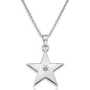 Lily & Lotty Silver Rhodium Plated Shining Star Necklace - Product number 4243773