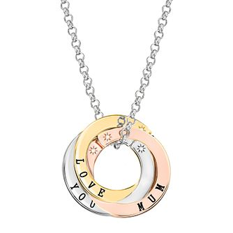 Lily & Lotty 3 Tone Gold Plated Silver 'Love Mum' Necklace - Product number 4245415