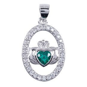 Cailin Sterling Silver Claddagh Oval Green Crystal Pendant - Product number 4245709