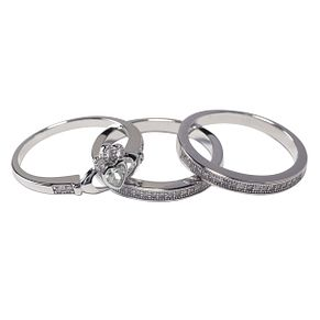 Cailin Silver Cubic Zirconia 3 Piece Claddagh Ring Set - Product number 4245946