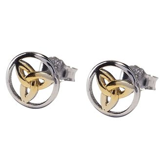 Cailin Sterling Silver Gold Plated Celtic Round Earrings - Product number 4245970