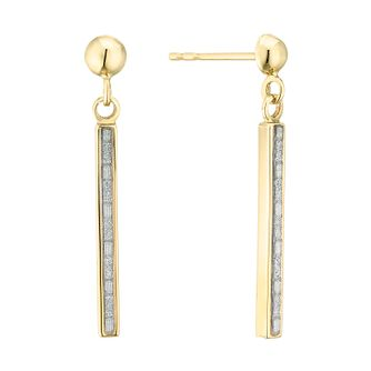 9ct Yellow Gold Glitter Bar Drop Earrings - Product number 4245989