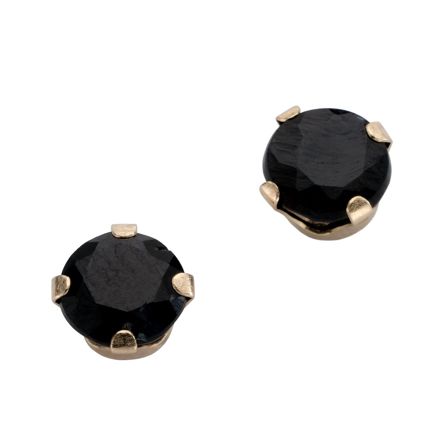 sapphire square silver earrings mens womens stud plated rhodium cz black sterling