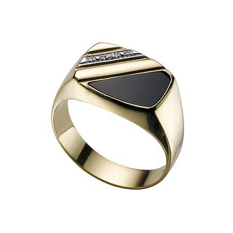 Men's 9ct gold diamond & onyx ring - Product number 4254694