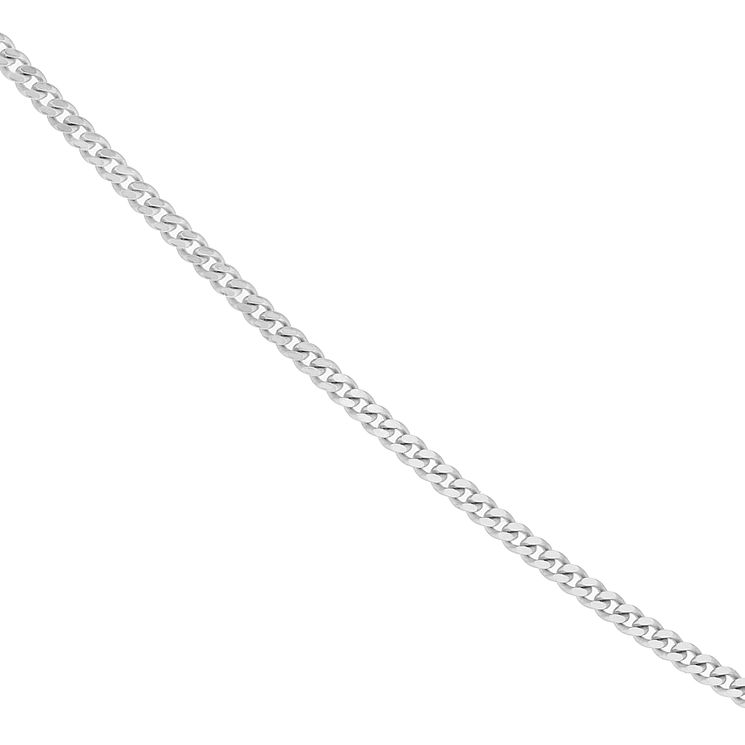 "9ct White Gold 18"" Solid Curb Chain - Product number 4255682"