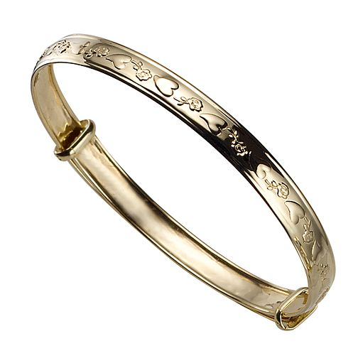 Childs 9ct Gold Heart & Flower Expander Bangle - Product number 4258037