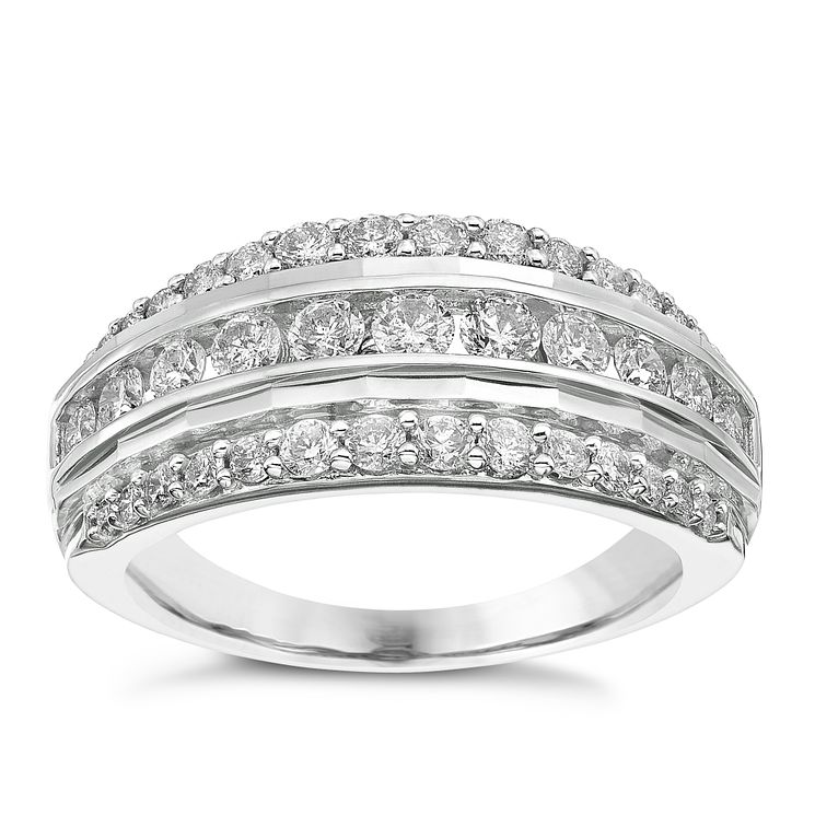 engagement wedding jewelry ketti banded bands pave three eternity rings row two band