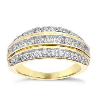 18ct Yellow Gold 1ct Diamond Three Row Eternity Ring - Product number 4260856