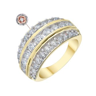 18ct Yellow Gold 2ct Diamond Three Row Eternity Ring - Product number 4261119