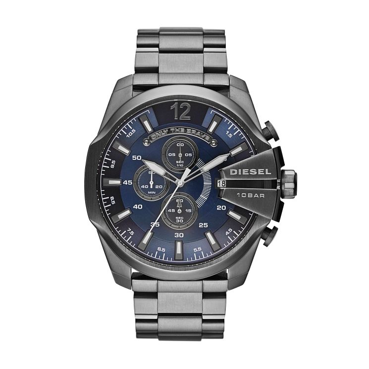 Diesel Men's Mega Chief Blue Dial & Gunmetal Bracelet Watch - Product number 4261879
