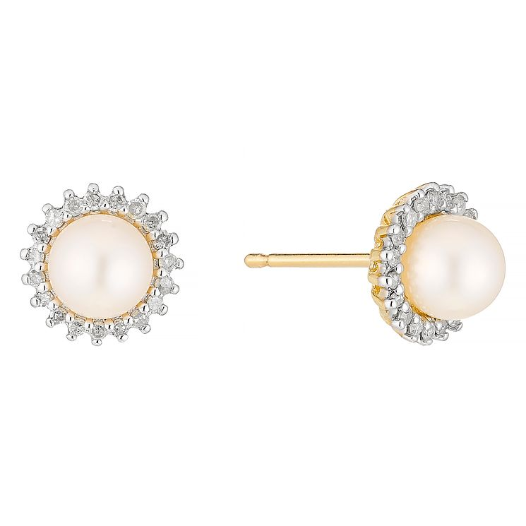 9ct Gold Cultured Freshwater Pearl & Diamond Stud Earrings - Product number 4263545