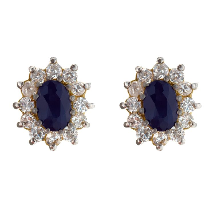 Gold Sapphire & Cubic Zirconia Earrings - Product number 4268369