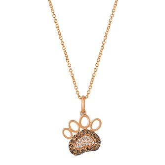 Le Vian 14ct Strawberry Gold Chocolate Diamond Paw Pendant - Product number 4288807