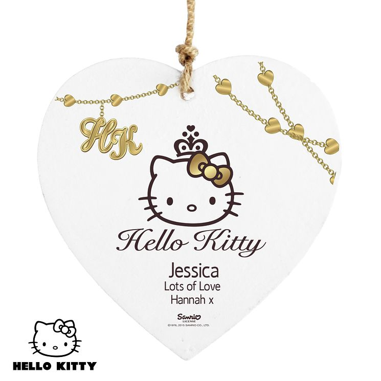 Personalised Hello Kitty Chic Wooden Heart Decoration - Product number 4289722