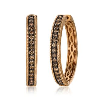 Le Vian 14ct Strawberry Gold Chocolate Diamond Hoop Earrings - Product number 4291506