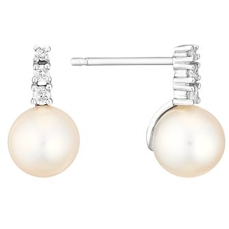 9ct White Gold Cultured Freshwater Pearl & Diamond Earrings - Product number 4293096