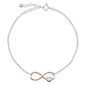 Bodifine Silver & Rose Gold Plated Infinity Anklet - Product number 4297830