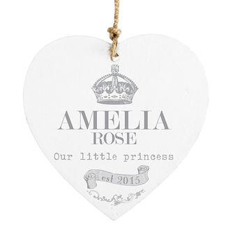 Personalised Royal Crown Wooden Heart Decoration - Product number 4298071