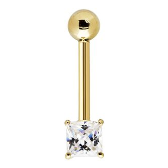 Bodifine 9ct Yellow Gold Square Cubic Zirconia Belly Bar - Product number 4298225