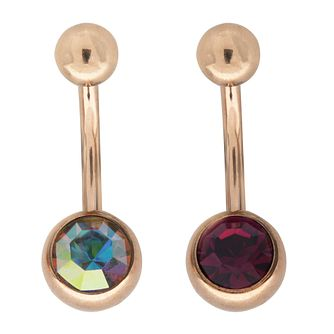 Bodifine Rose Gold Plated Crystal Belly Bar Set - Product number 4298284
