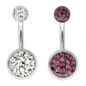 Bodifine Stainless Steel Crystal Belly Bar Set - Product number 4298349