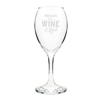 "Engraved ""Wine Oclock"" Engraved Wine Glass - Product number 4298462"