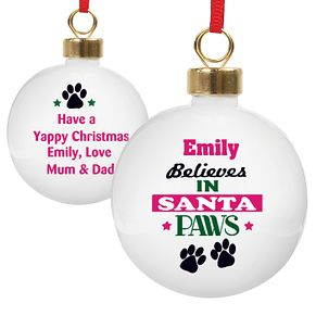Personalised Santa Paws Bauble - Product number 4298527