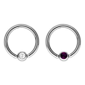 Bodifine Stainless Steel Crystal Eyebrow Ring Set - Product number 4298748