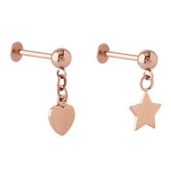 Bodifine Rose Gold Plated Heart & Star Ear Tragus Bar Set - Product number 4298985