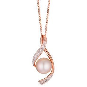 9ct Rose Gold Cultured Freshwater Pearl & Diamond Pendant - Product number 4299000