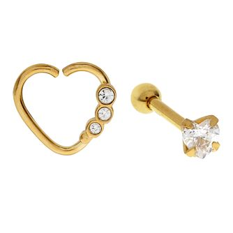 Bodifine Yellow Gold Plated Heart Crystal Ear Tragus Bar Set - Product number 4299035