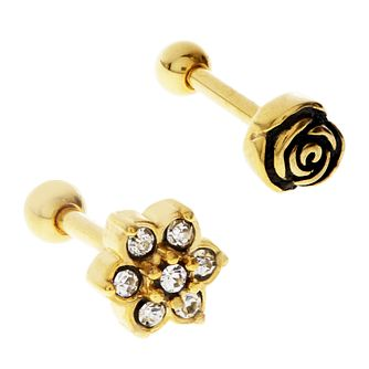 Bodifine Gold Plated Crystal Flower Ear Tragus Bar Set - Product number 4299086