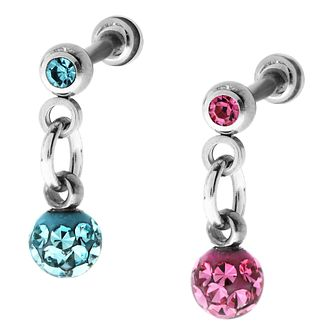 Bodifine Stainless Steel Hanging Crystal Ear Tragus Bar Set - Product number 4299132