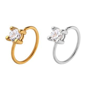 Bodifine Stainless Steel Crystal Ear Cartilage Ring Set - Product number 4299256