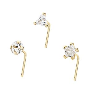 Bodifine 9ct Yellow Gold Cubic Zirconia Nose Studs Set of 3 - Product number 4299418