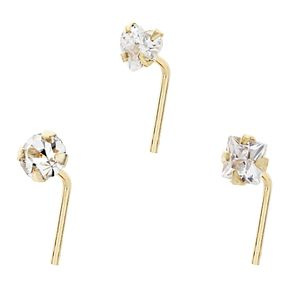Bodifine 9ct Yellow Gold Cubic Zirconia Nose Studs Set of 3 - Product number 4299434