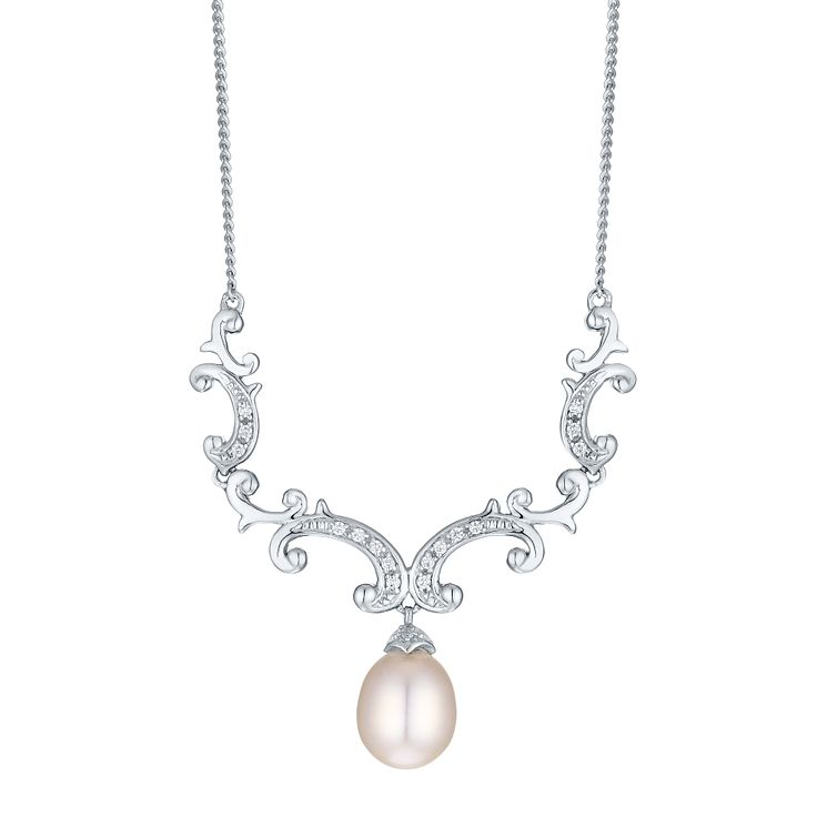 Silver Cultured Freshwater Pearl Cubic Zirconia Necklace - Product number 4299523