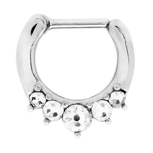 Bodifine Stainless Steel Crystal Nose Septum Ring - Product number 4300297