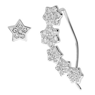 Bodifine Silver Crystal Stars Ear Climber & Stud Set - Product number 4300467
