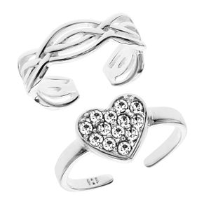 Bodifine Sterling Silver Crystal Heart Toe Ring Set - Product number 4300491
