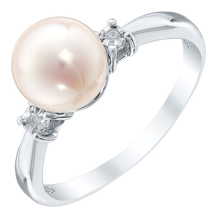 9ct White Gold Cultured Freshwater Pearl & Diamond Ring - Product number 4301242