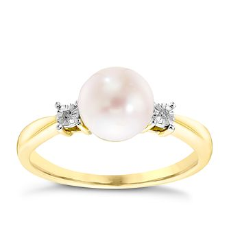 9ct Yellow Gold Cultured Freshwater Pearl & Diamond Ring - Product number 4307399
