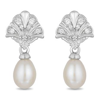 Enchanted Disney Fine Jewelry Pearl & Diamond Ariel Earrings - Product number 4311396