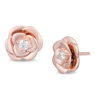 Enchanted Disney Fine Jewelry Diamond Belle Rose Earrings - Product number 4311426